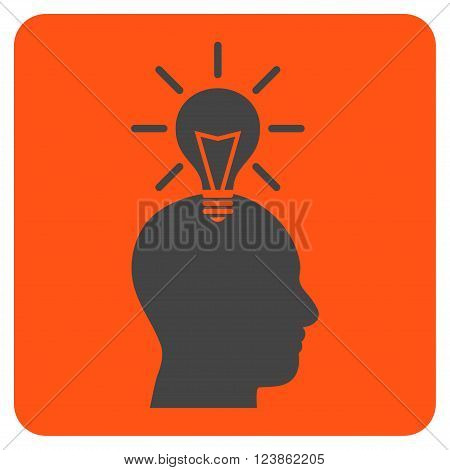 Genius Bulb vector icon symbol. Image style is bicolor flat genius bulb pictogram symbol drawn on a rounded square with orange and gray colors.