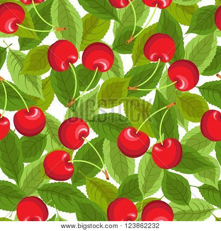 Seamless pattern with cherries and leaves. Background for your design with bright contrasting red berries and green leaves. Vector illustration.