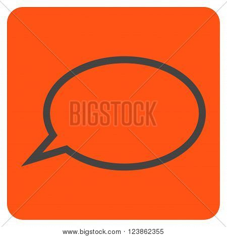 Hint Cloud vector icon symbol. Image style is bicolor flat hint cloud icon symbol drawn on a rounded square with orange and gray colors.
