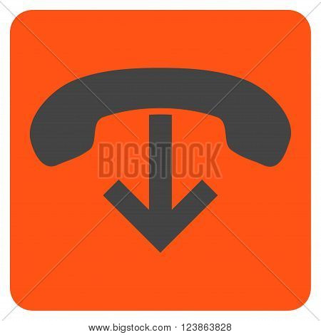 Phone Hang Up vector pictogram. Image style is bicolor flat phone hang up iconic symbol drawn on a rounded square with orange and gray colors.