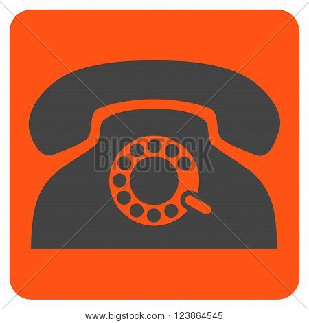 Pulse Phone vector symbol. Image style is bicolor flat pulse phone icon symbol drawn on a rounded square with orange and gray colors.