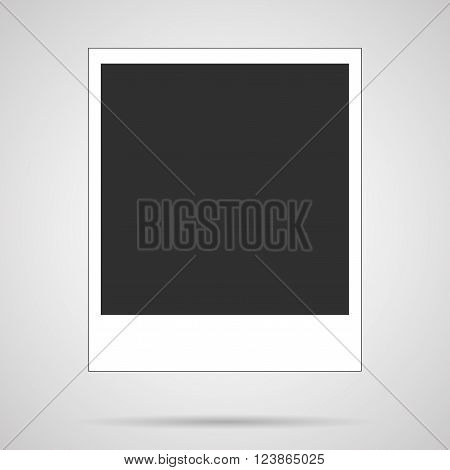 Vector polaroid blank  instant photo card over gray. Flat Icon for your retro, vintage photo projects