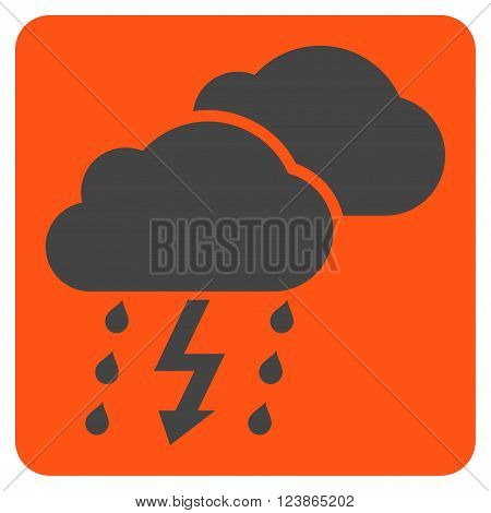 Thunderstorm vector icon. Image style is bicolor flat thunderstorm icon symbol drawn on a rounded square with orange and gray colors.