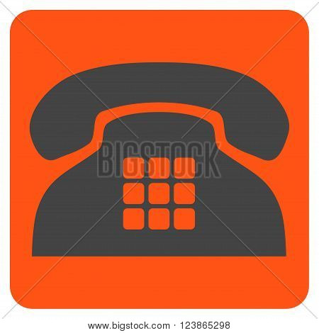 Tone Phone vector symbol. Image style is bicolor flat tone phone iconic symbol drawn on a rounded square with orange and gray colors.