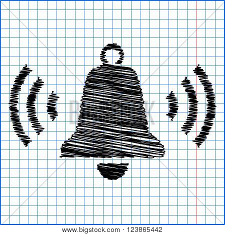 Ringing bell icon with pen effect on paper.