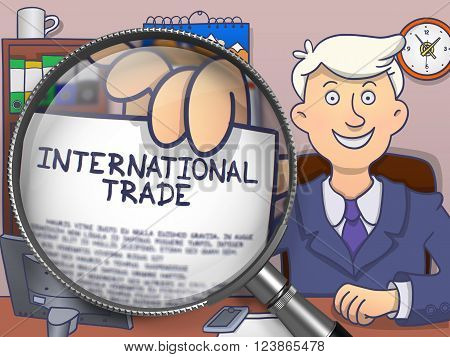International Trade. Officeman Holds Out Paper with Business Concept through Lens. Multicolor Doodle Illustration.