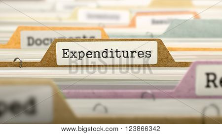 Expenditures - Folder Register Name in Directory. Colored, Blurred Image. Closeup View. 3D Render.