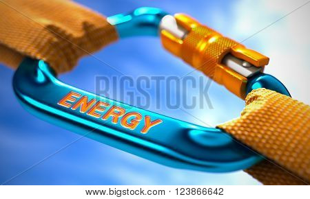 Strong Connection between Blue Carabiner and Two Orange Ropes Symbolizing the Energy. Selective Focus. 3D Render.