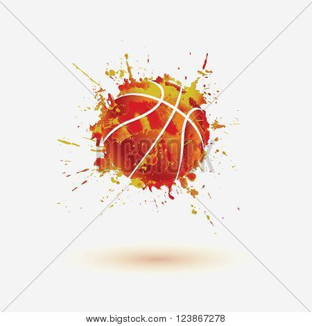 Basketball ball. Vector watercolor splash paint illustration