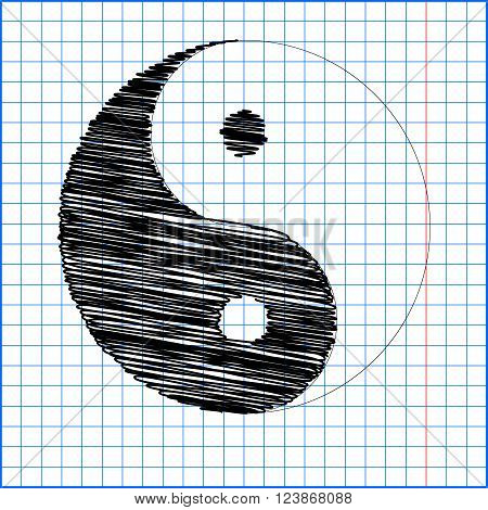 Ying yang symbol of harmony and balance with pen effect on paper.