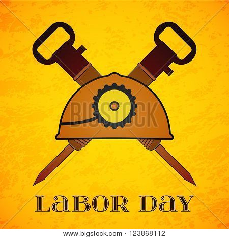 May Day. May 1st. Labor Day background with two crossed jackhammers and helmet . Poster, greeting card or brochure template, symbol of work and labor, vector icon