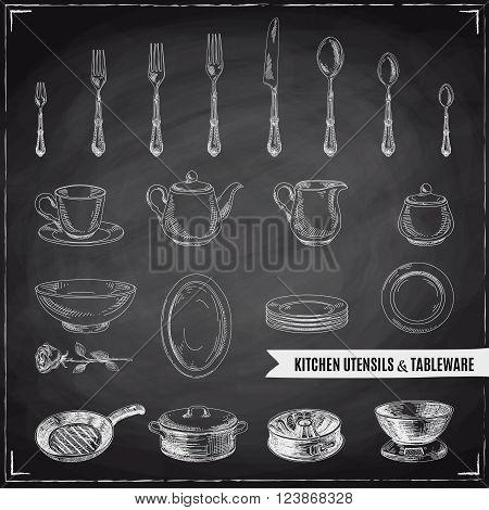 Vector hand drawn illustration with kitchen tools. Sketch. Chalkboard