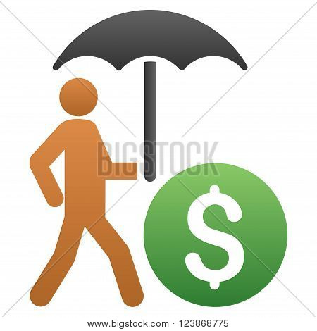 Banker With Umbrella vector toolbar icon for software design. Style is a gradient icon symbol on a white background.