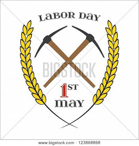 May Day. May 1st. Labor Day background with two crossed pickaxes over white . Element for poster, greeting card or brochure template, symbol of work and labor, vector icon