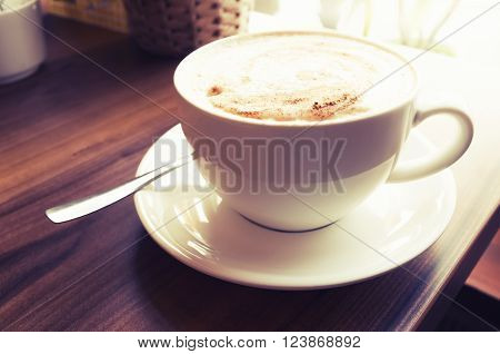 Cup Of Cappuccino. Coffee With Milk Foam