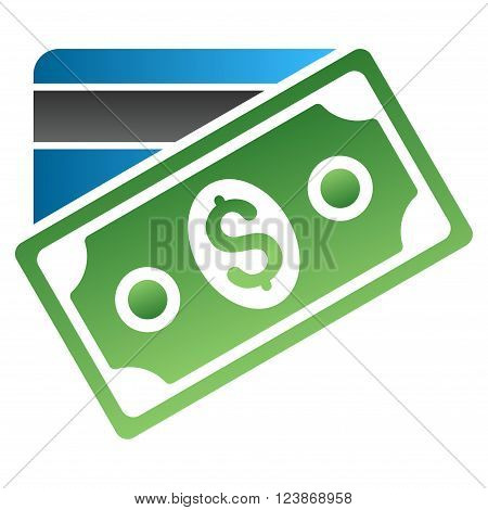 Banknote and Credit Card vector toolbar icon for software design. Style is a gradient icon symbol on a white background.