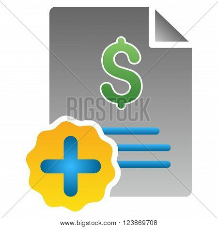 Medical Invoice vector toolbar icon for software design. Style is a gradient icon symbol on a white background.