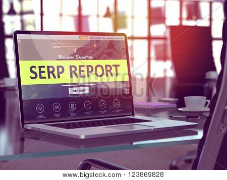 SERP - Search Engine Results Page - Report Concept. Closeup Landing Page on Laptop Screen  on background of Comfortable Working Place in Modern Office. Blurred, Toned Image. 3D Render.