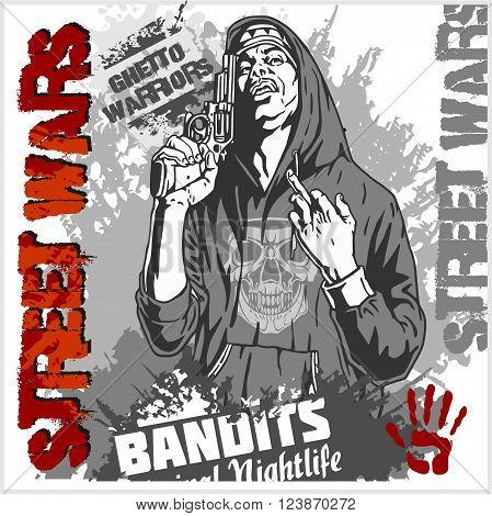 Bandit with gun. Man with revolver. Ghetto Warriors. Vector illustration