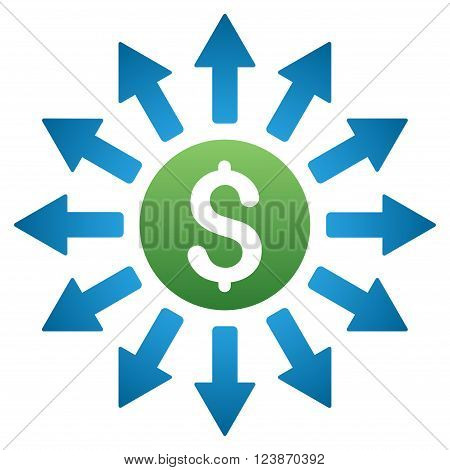 Payouts vector toolbar icon for software design. Style is a gradient icon symbol on a white background.