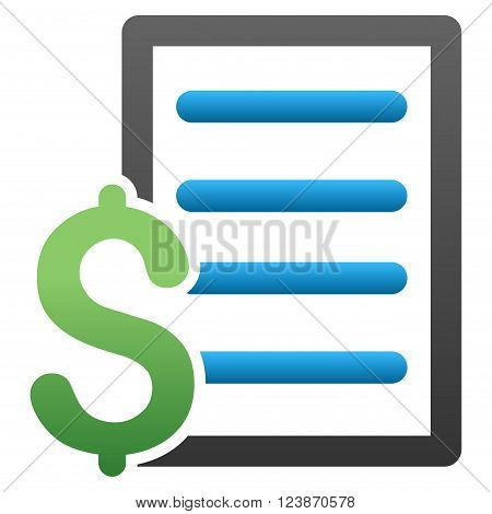 Pricelist vector toolbar icon for software design. Style is a gradient icon symbol on a white background.