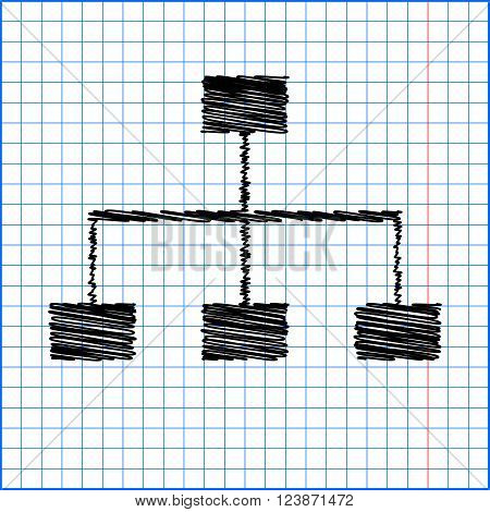 site map icon for your projects with pen effect on paper.