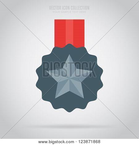 Medal icon. Medal flat modern style. Vector medal. Award medal. Isolated medal illustration. Winner symbol. Medal icon with ribbon. Winner icon. Medal with star shape. Victory sign. Champions medal icon. Medal badge.