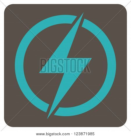 Electricity vector pictogram. Image style is bicolor flat electricity iconic symbol drawn on a rounded square with grey and cyan colors.