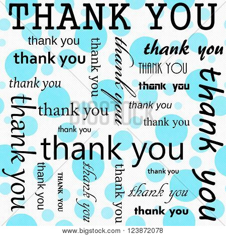 Thank You Design with Teal and White Polka Dot Tile Pattern Repeat Background that is seamless and repeats