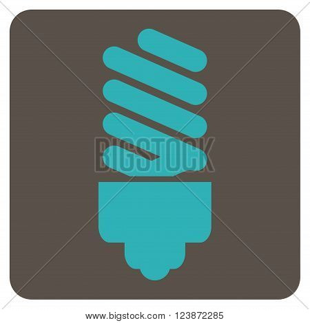 Fluorescent Bulb vector pictogram. Image style is bicolor flat fluorescent bulb pictogram symbol drawn on a rounded square with grey and cyan colors.