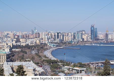 the Caspian coast city of Baku, view from above