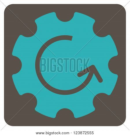 Gear Rotation vector pictogram. Image style is bicolor flat gear rotation pictogram symbol drawn on a rounded square with grey and cyan colors.
