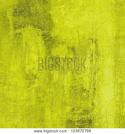 Yellow Lemon Color Cracked Obsolete Cement Wall Background closeup