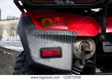 All-terrain vehicle closeup. He stopped at the spring road