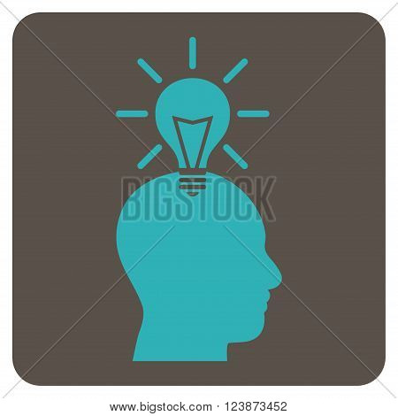 Genius Bulb vector pictogram. Image style is bicolor flat genius bulb icon symbol drawn on a rounded square with grey and cyan colors.