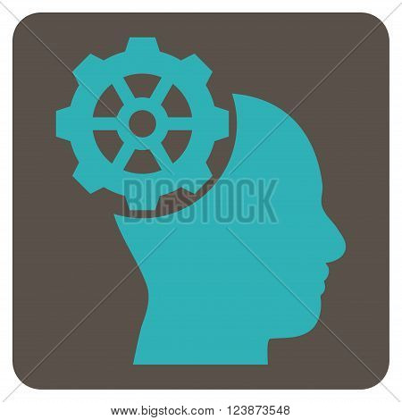 Head Gear vector symbol. Image style is bicolor flat head gear pictogram symbol drawn on a rounded square with grey and cyan colors.