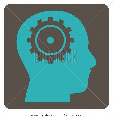 Intellect vector pictogram. Image style is bicolor flat intellect icon symbol drawn on a rounded square with grey and cyan colors.