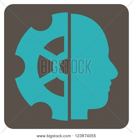 Intellect vector pictogram. Image style is bicolor flat intellect pictogram symbol drawn on a rounded square with grey and cyan colors.