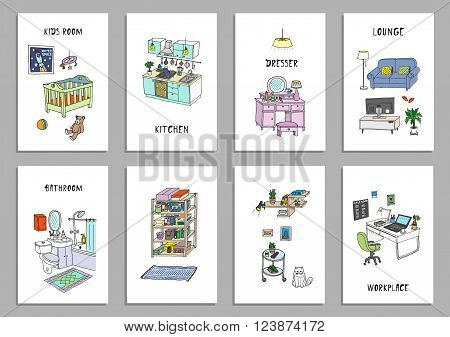 Set of eight creative cards with different interior hand drawn sketch, vector illustration. Isolated
