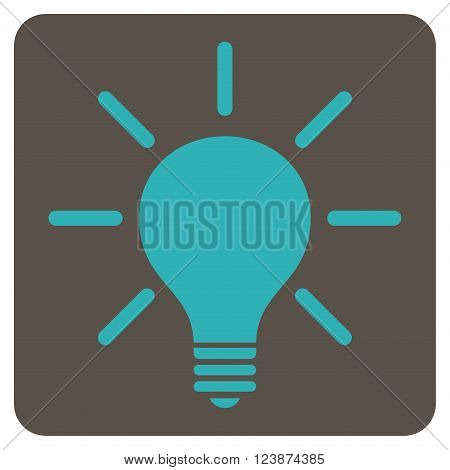 Light Bulb vector icon symbol. Image style is bi-color flat light bulb iconic symbol drawn on a rounded square with grey and cyan colors.