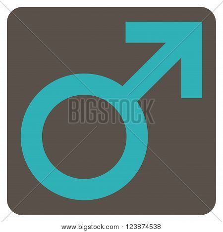 Male Symbol vector symbol. Image style is bicolor flat male symbol iconic symbol drawn on a rounded square with grey and cyan colors.