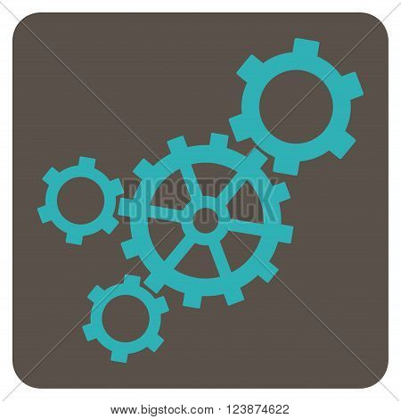 Mechanism vector pictogram. Image style is bicolor flat mechanism pictogram symbol drawn on a rounded square with grey and cyan colors.
