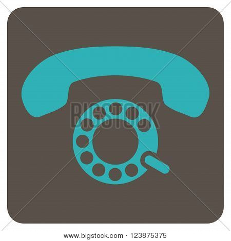 Pulse Dialing vector icon symbol. Image style is bicolor flat pulse dialing pictogram symbol drawn on a rounded square with grey and cyan colors.