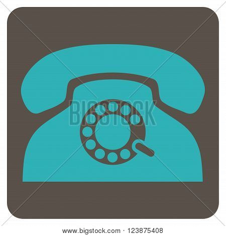 Pulse Phone vector pictogram. Image style is bicolor flat pulse phone icon symbol drawn on a rounded square with grey and cyan colors.