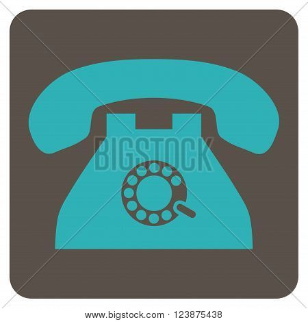 Pulse Phone vector icon. Image style is bicolor flat pulse phone pictogram symbol drawn on a rounded square with grey and cyan colors.