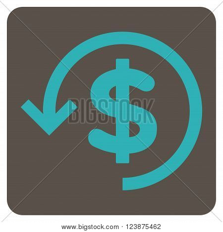 Refund vector icon. Image style is bicolor flat refund pictogram symbol drawn on a rounded square with grey and cyan colors.