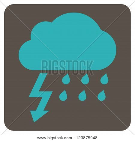 Thunderstorm vector icon symbol. Image style is bicolor flat thunderstorm pictogram symbol drawn on a rounded square with grey and cyan colors.