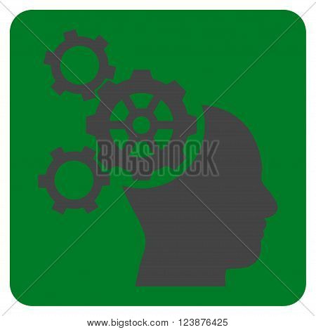 Brain Mechanics vector pictogram. Image style is bicolor flat brain mechanics iconic symbol drawn on a rounded square with green and gray colors.