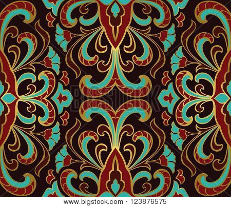 Rich floral ornament. Templates for carpets shawl wallpaper textiles and any surface. Seamless vector pattern of gold contour.