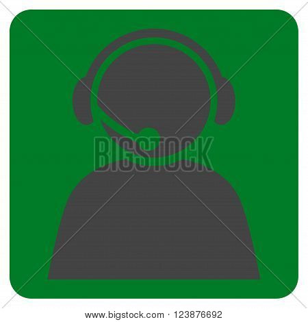 Call Center Operator vector symbol. Image style is bicolor flat call center operator icon symbol drawn on a rounded square with green and gray colors.